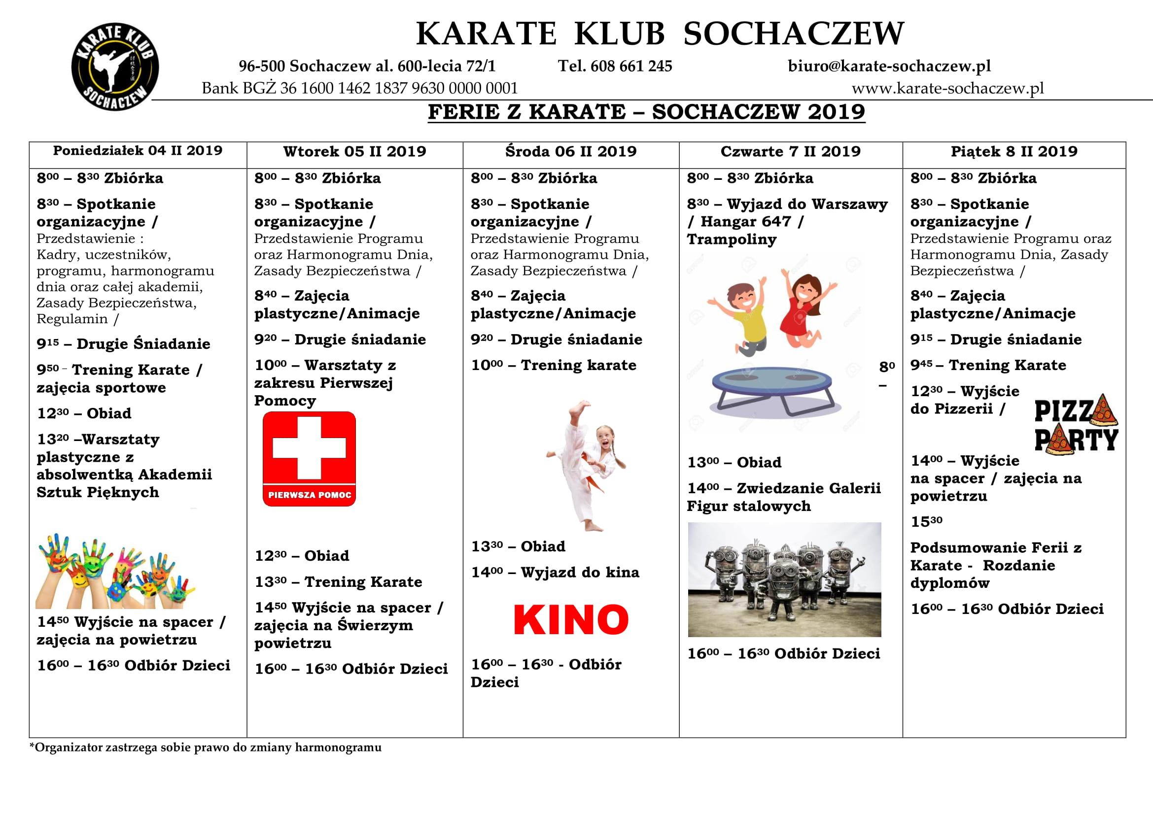 Harmonogram Akademii Karate 2019-1